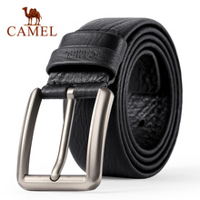 CAMEL Mens Belt fashion Genuine Leather Business Wild Casual Pin Buckle Belt Cross Buttonhole Design Flexible Top Layer Cowhide