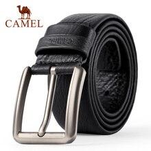 Мужской ремень CAMEL, Модный деловой ремень из натуральной кожи, повседневный ремень с пряжкой и перекрестными пуговицами, гибкий верхний слой из воловьей кожи