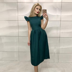 LIMISALAMIK Summer 2018 Women Elegant Midi Dress Casual