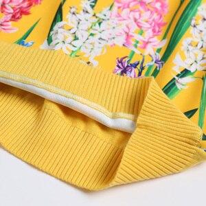 Image 4 - 2019 свитер женски fashion  Women Long sleeve V neck fashion female sweater 2XL yellow flower print knitwear wool high quanlity