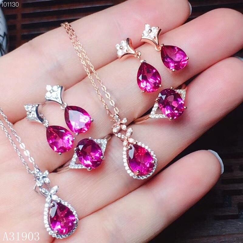 KJJEAXCMY boutique bijoux 925 en argent sterling incrusté de poudre naturelle topaze pierre gemme femelle anneau pendentif boucles d'oreilles ensemble support det