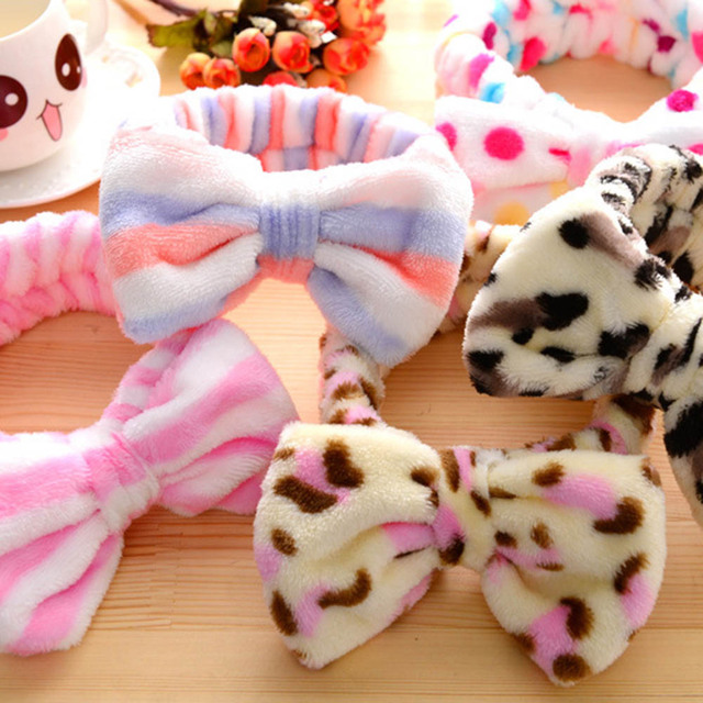 cba2a96b6bb 1 pc Sweet Girls Butterfly Knot Flannel Headband Towel Make up Wash Super  Elastic Bands Girls
