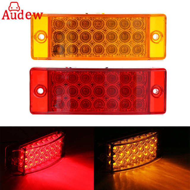 2Pcs 24V 6 Rectangular 21 LED Car Light Red Side Marker Lamp