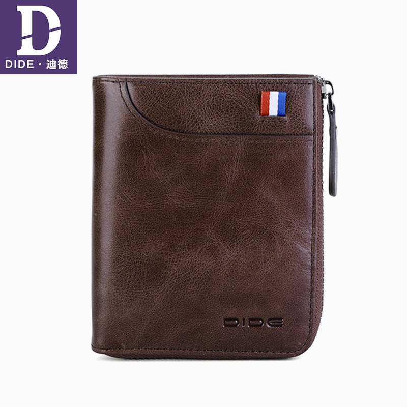 DIDE Men Wallet Coin-Purse Ribbon-Design Carder-Holder Male Genuine-Leather Double-Zipper