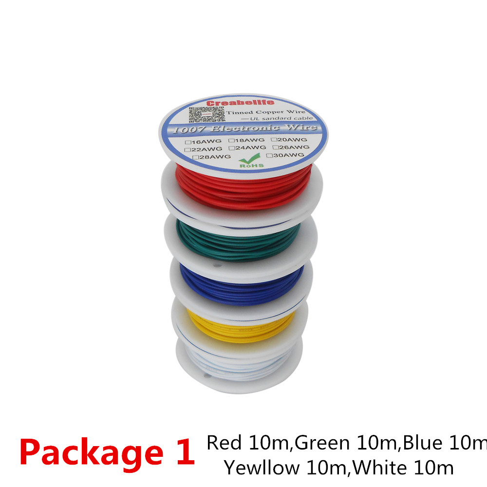50m lot UL 1007 28AWG 5 Colors P1 or P2 Electrical Wire Cable Line Tinned Copper PCB Wire UL Certification Insulated LED Cable in Wires Cables from Lights Lighting