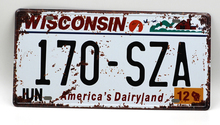 1 pc Wisconsin tin sign plate US American car license plaques man cave garage