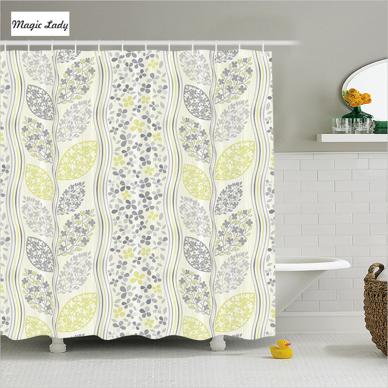 Shower curtain leaves polyester bathroom accessories for Fall bathroom sets