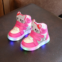 New Cartoon Cat Diamond Princess Girls Sports Shoes Autumn Cartoon LED Sneakers Fashion Children High Top