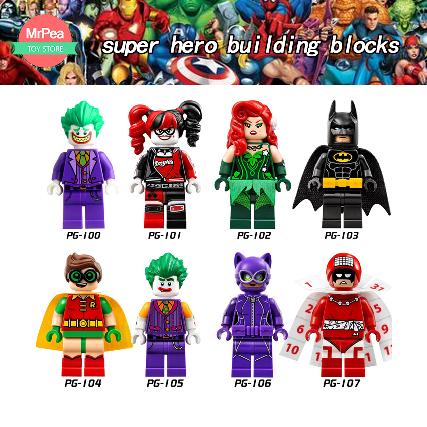 Single Super Heroes Building Blocks Harley Quinn Joker LegOINg Batman Catwoman Robin Poison Compatible With LegoINGly X-Men zk30 super heroes riddler scarecrow two face bruce wayne batman penguin aaron cash harley quinn mime building blocks kids toys kf1041