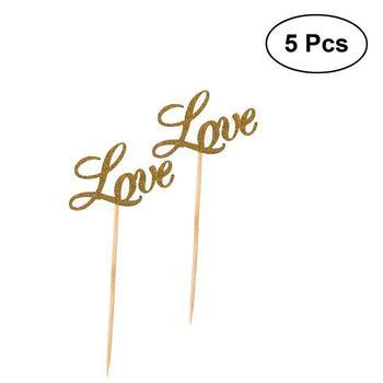 5 uds. Decoración de Cupcake DE BODA Pequeño amor Caved Cupcake selecciones signo para Decoración de Pastel de fiesta