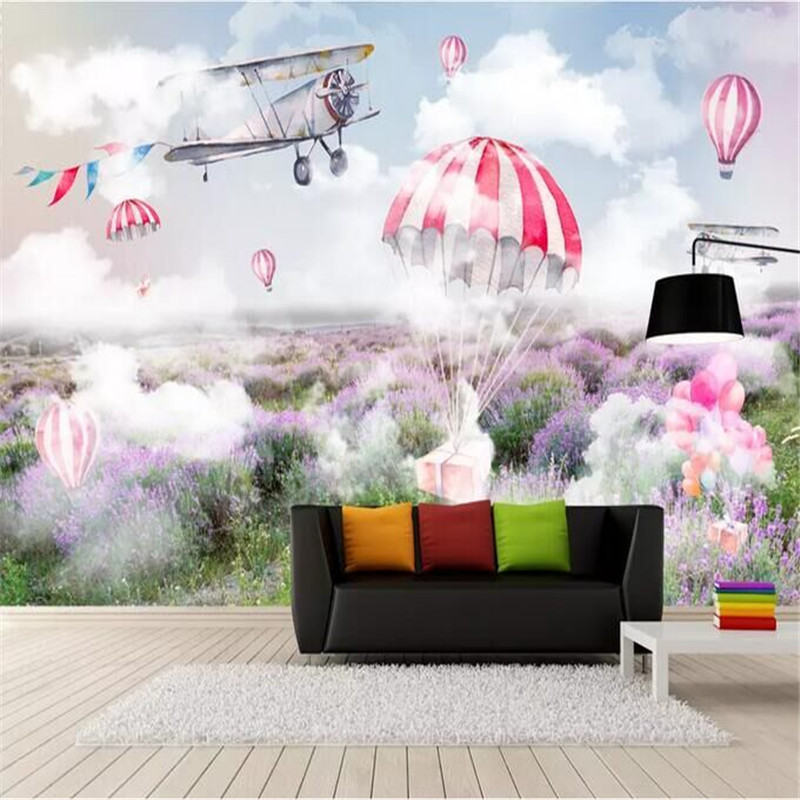 Fresh And Simple Sky Plane Parachute Lavender Mural Wall Factory Wholesale Wallpaper Mural Custom Photo Wall