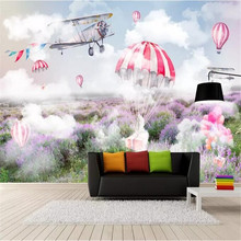 Fresh and simple sky plane parachute lavender mural wall factory wholesale wallpaper custom photo