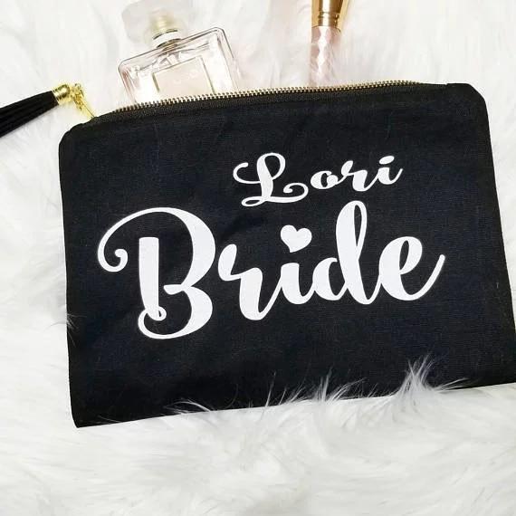 Personalized bride Makeup bag, maid of honor cosmetic bag, bridesmaid cosmetic bag, bridesmaid makeup bag, bridesmaid gifts