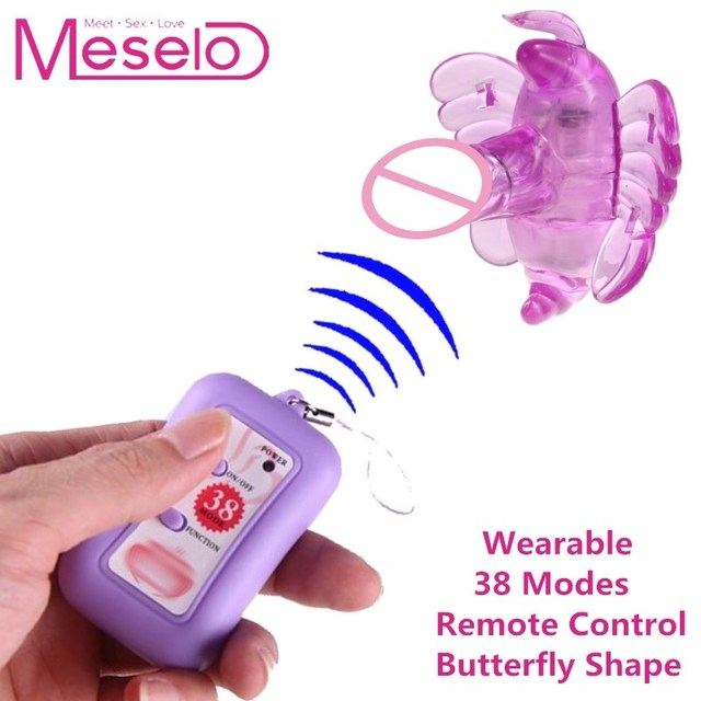 Meselo 38 Speeds Wearable Butterfly Dildo Vibrator Remote Control Adjustable Strap Faux Penis Sex Toys For