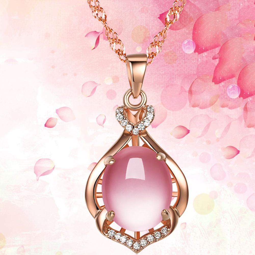 Imitation Rose Gold Filled Dubai African Jewelry Pendant Necklace Kn70890 Kalung Choker Bunga Luxury Moonstone Liontin Batal Kristal Rantai Batu Alam Pink Perhiasan Collares Mujer