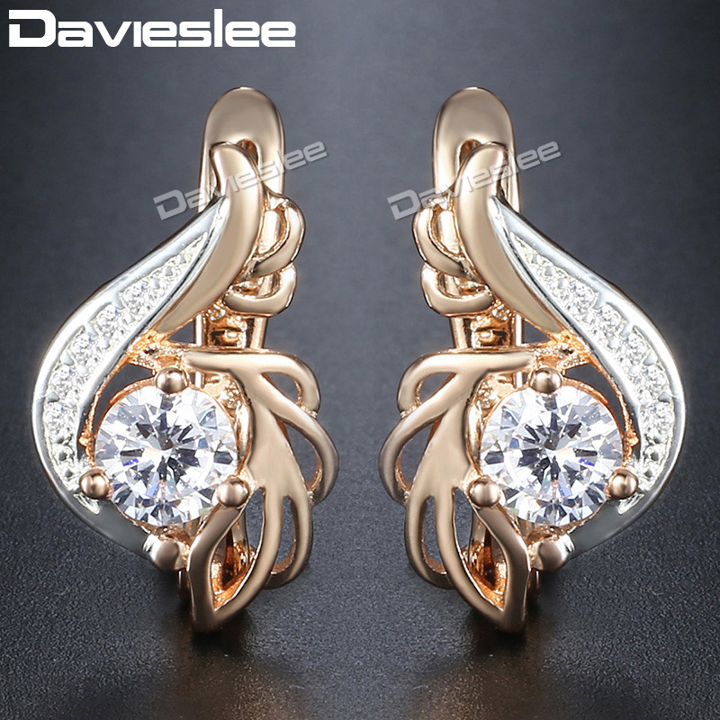 Davieslee Round Clear CZ Dangle Earrings for Women Cubic Zirconia 585 White Rose Gold Fi ...