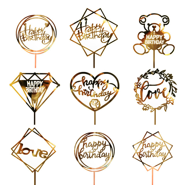 Glittery Acrylic Cake Toppers