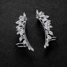New Jewelry S925 Silver Cubic Zircon CZ Ear Crawler Angel Wing Ear Cuff For Woman Stud Earrings High Quality  PE269