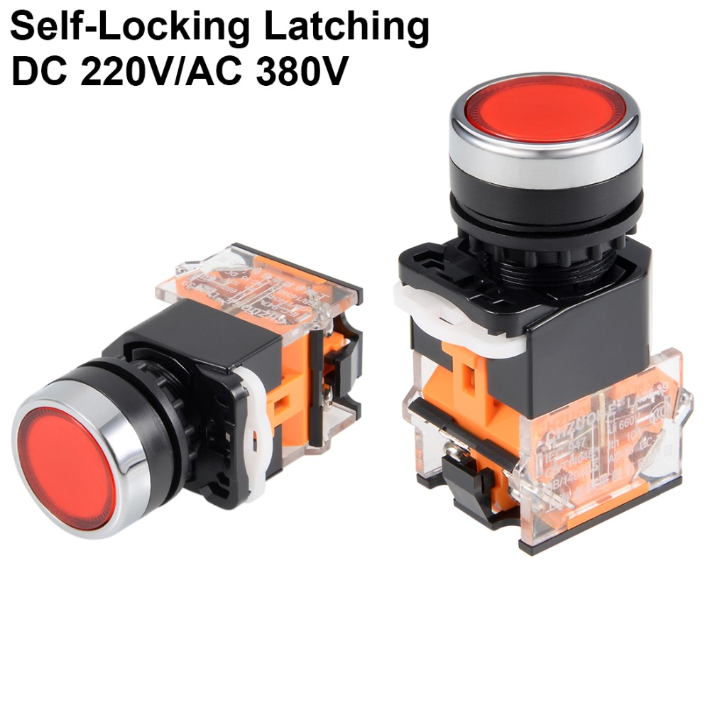 UXCELL 22mm Switches Latching Push Button Switch Round Flat Button DPST 1 NO 1 NC Switch Accessories Red Or Green Switch in Switches from Lights Lighting