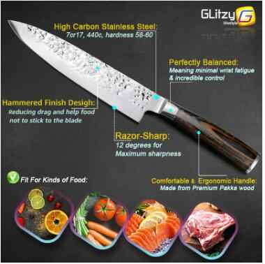 Kitchen Knife 8 inch Professional Japanese Chef Knives High Carbon Meat Cleaver Slicer Santoku Knife CJJJCFCF004