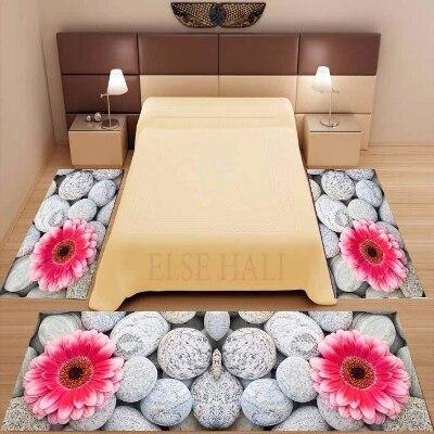 Lot de 3 pièces pierres grises rose grandes fleurs imprimé Floral 3d antidérapant microfibre lavable décor chambre tapis tapis