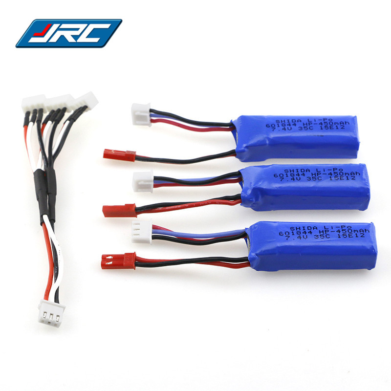 JJRC 3 In 1 7.4V 450MAH 35C Lipo Battery Set With Charging Convert Cable For Emax Babyhawk FPV Quadcopter Racer Racing RC Drone 3pcs 3 7v 900mah li po battery 3 in 1 green us regulation charger and charging cable for rc xs809 xs809hc xs809hw aircraft