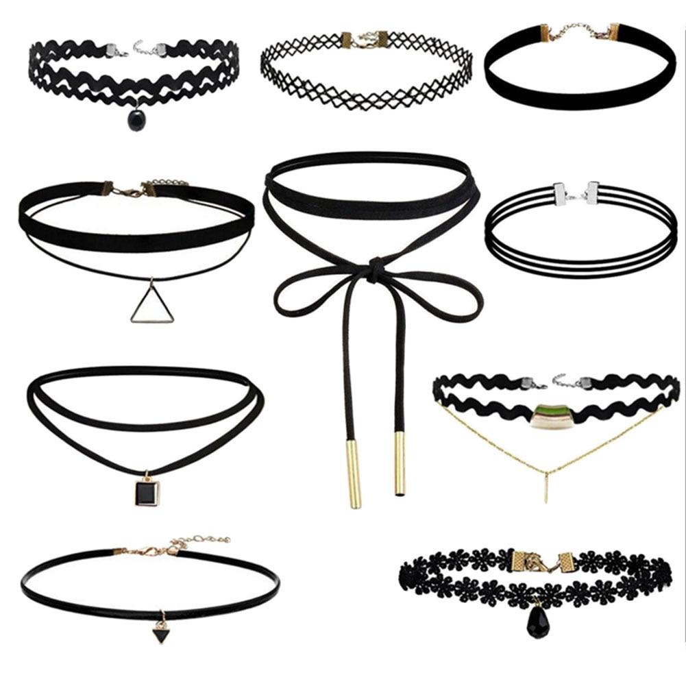 10pcs/set Sexy Black Gothic Punk Velvet Tattoo Lace Choker Necklace Long Pendant Jewelry Women Lady Collar Chocker(China)