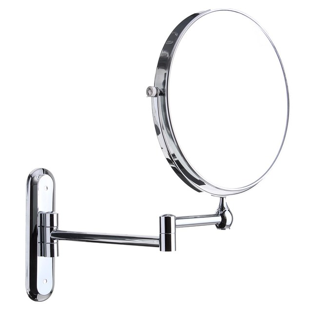 8 Rotatable 10X Magnifying Mirror Extend Double Sided Bathroom Wall Foldable Round Vanity Makeup