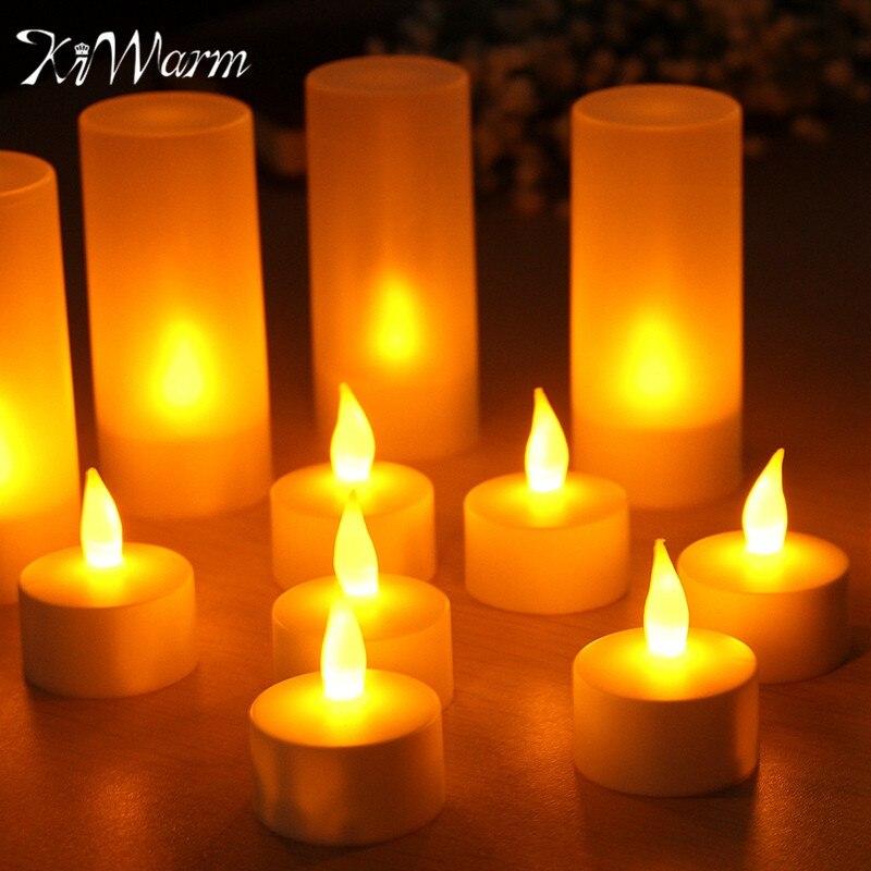 KiWarm 12 pcs Rechargeable Sans Flamme LED Bougie Photophore Lumière de Nuit pour Romantique D'anniversaire De Mariage Dinner Party Vacances Décor