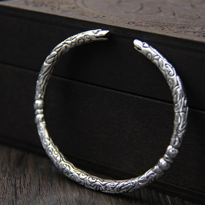 Vintage Style S925 Sterling Silver Dragon Head Shape Open Bangle Cuff Bracelets Armlet Men Jewelry Boyfriend Birthday GiftVintage Style S925 Sterling Silver Dragon Head Shape Open Bangle Cuff Bracelets Armlet Men Jewelry Boyfriend Birthday Gift