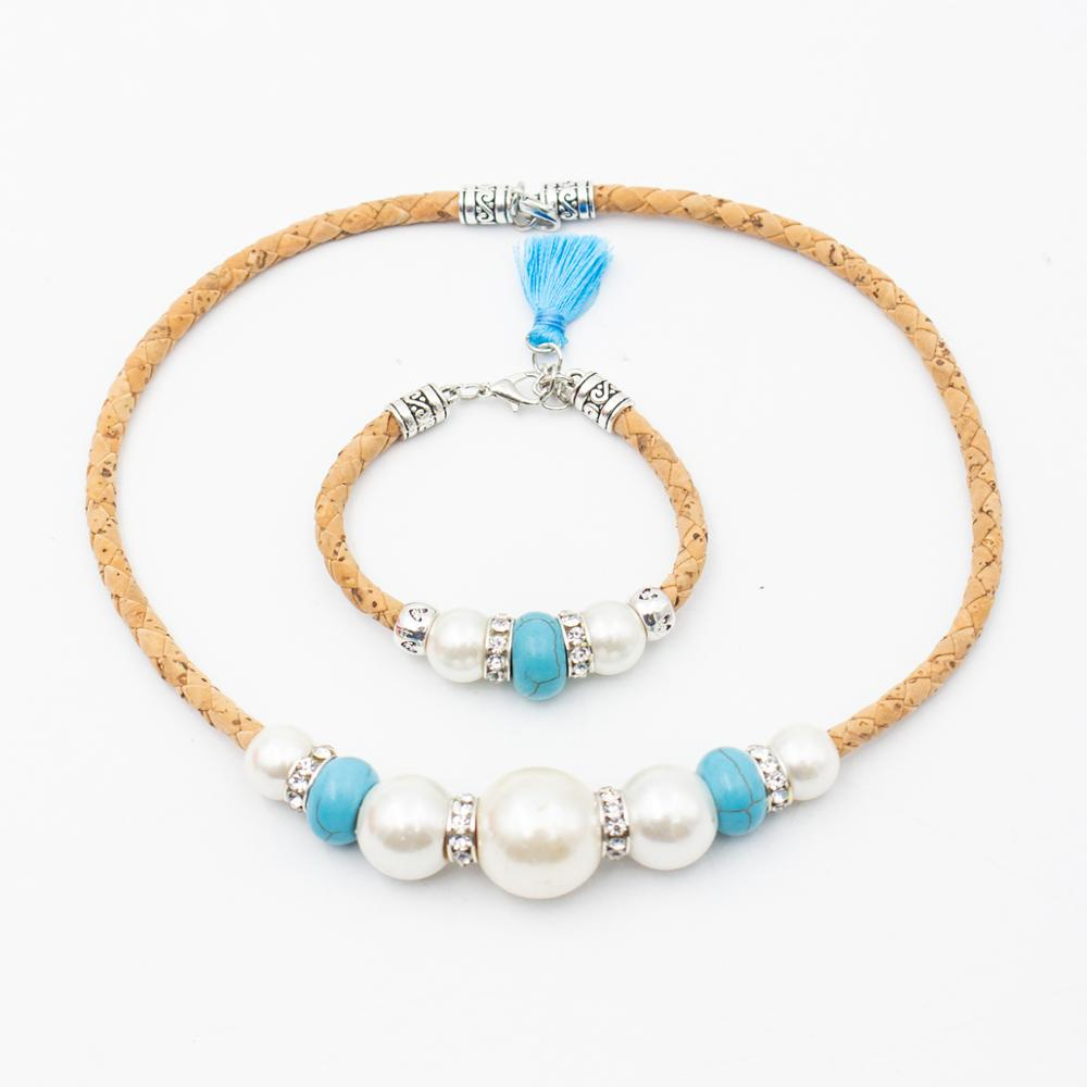 Natural Cork Azure Tassel With White Pearl Blue Stone Lady Jewelry Set Original Wooden Jewelry SET069