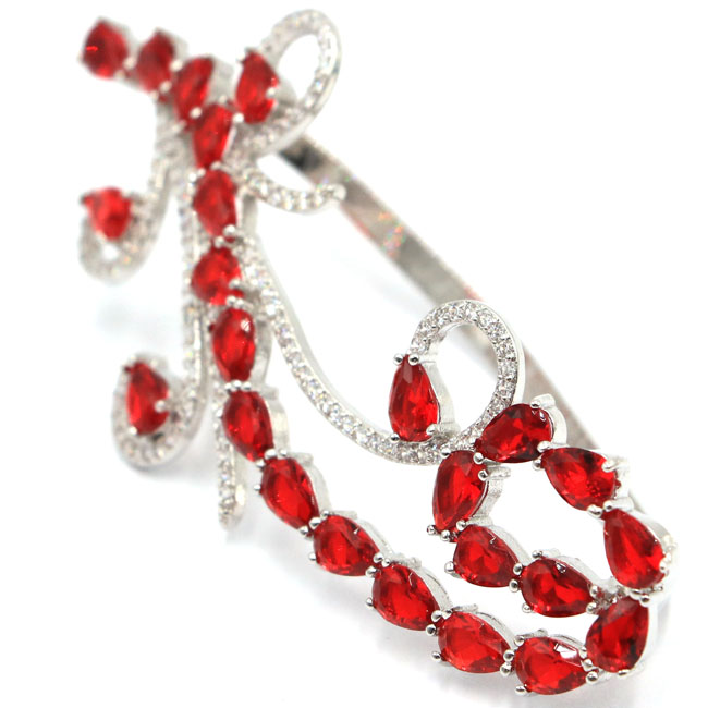 SheCrown New Designed Big Red Blood Ruby White CZ Silver Ring US SZ 13.0# 72x33mm