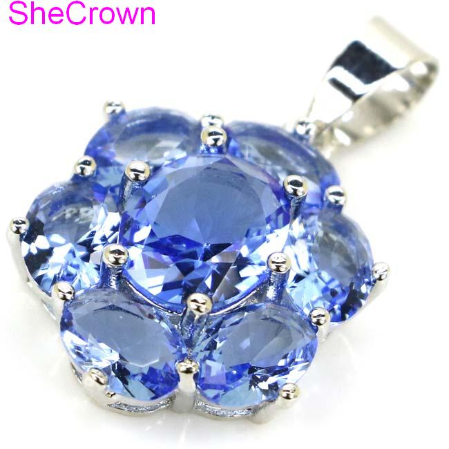 Hot Sell Rich Blue Violet Tanzanite Woman 39 s Wedding 925 Silver Pendant 27x17mm in Charms from Jewelry amp Accessories