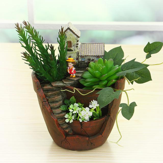 New Novelty Resin Garden Pots Creative Bonsai Plant Flower Pot For Office Desktop Decoration