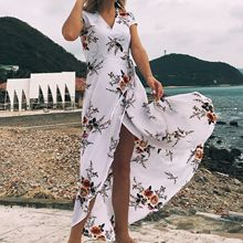 OLOEY Women Long Maxi Dresses Bohemia V-neck Short Sleeve Floral Print Ethnic Summer Beach Female Split Stylish Style Dress