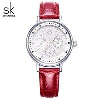 SK/4 цвета модные кожаные ремешок для часов женские кварцевые часы женщина часы роскоши Для женщин наручные Для женщин часы Водонепроницаемы