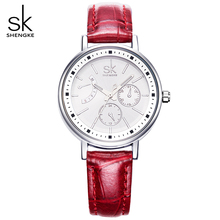 SK 4 Color Fashion Leather Watchband Ladies Quartz Watch Woman Watches Luxury Women Wristwatch  Women's Clocks Waterproof Watch
