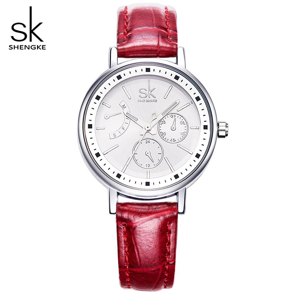 SK 4 Color Fashion Leather Watchband Ladies Quartz Watch Woman Watches Luxury Women Wristwatch Women's Clocks Waterproof Watch