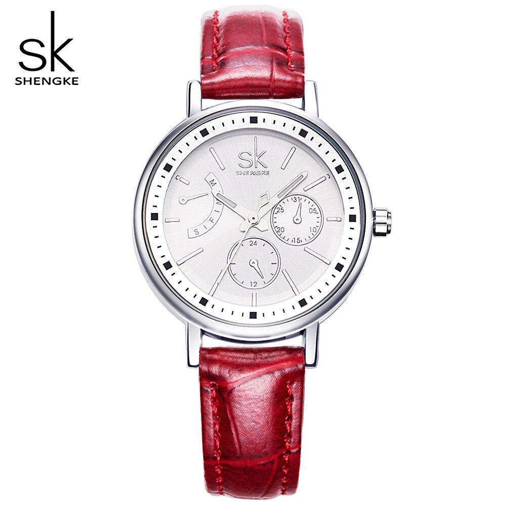 SK 4 Couleur Bracelet En Cuir De Mode Dames Quartz Montre Femme Montres De Luxe Femmes Montre-Bracelet de Femmes Horloges Montre Étanche