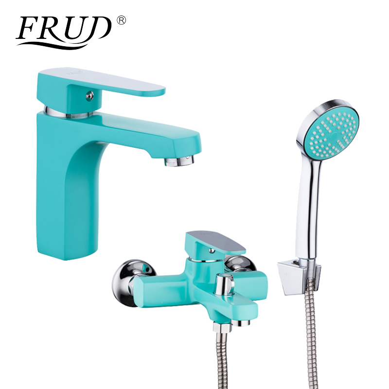 FRUD New Arrival 1 Set Bathroom Combination Basin Faucet and Shower Faucet Single Handle Cold and Hot Water Mixer R10303-2R32303 frap colorful handle rubber cover shower faucet cold and hot water single handle with shower bar and basin faucet f1034 f2434