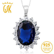 GemStoneKing 13 00 Ct Oval Blue Sapphire 925 Sterling Silver Women s Pendant Necklace