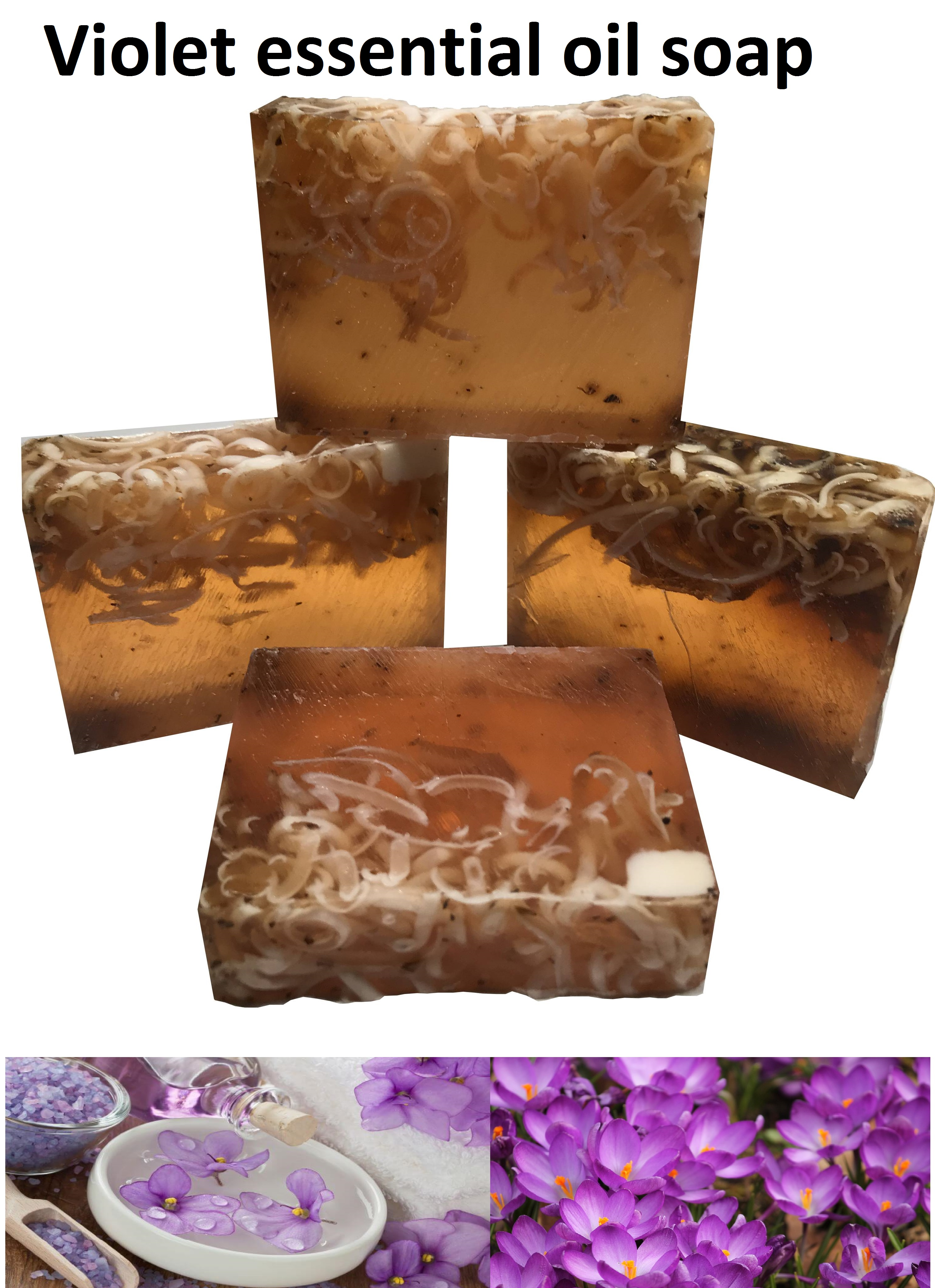 Handmade Natural  Violet Esesential Oil SOAP 4pcs Aromatherapy Skin Refiner BIO Soaps Vitamin Complecs