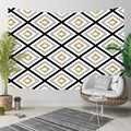 다른 검은 선 황금 노란색 회색 타일 기하학적 3d 인쇄 장식 히피 보헤미안 벽 교수형 풍경 태피스 트리 벽 예술