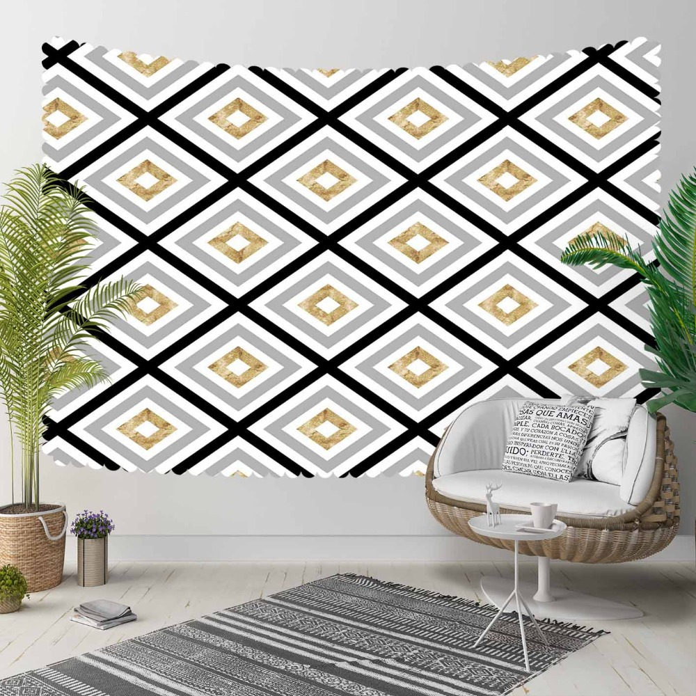 Else Black Lines Golden Yellow Gray Tiles Geometric 3D Print Decorative Hippi Bohemian Wall Hanging Landscape Tapestry Wall Art