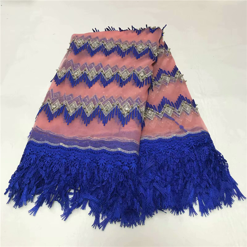 Latest Nigerian Lace Fabrics Royal Blue Guipure Embroidery African Wedding Lace French Beaded Tulle Net Lace Fabric X829-2Latest Nigerian Lace Fabrics Royal Blue Guipure Embroidery African Wedding Lace French Beaded Tulle Net Lace Fabric X829-2