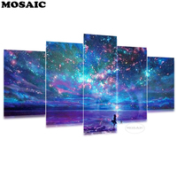 5pcs/set 5D Diy Daimond Painting,Mosaic Embroidery full square Cross stitch starry sky Multi picture Combination Rhinestone art