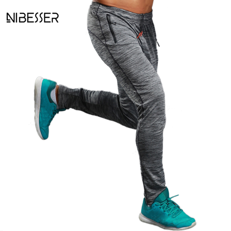 NIBESSER Brand Summer Fitness Men's Pants Elastic Breathable Sweat Pants Grey Drawstring Pants Trousers Zipper Pantalon Homme