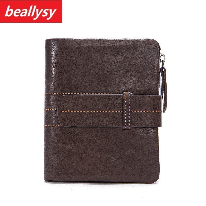 2018 Minimalist Vintage Designer Genuine Leather Men Slim Thin Mini Wallet Male Small Purse Money Clip Credit Card Dollar Price