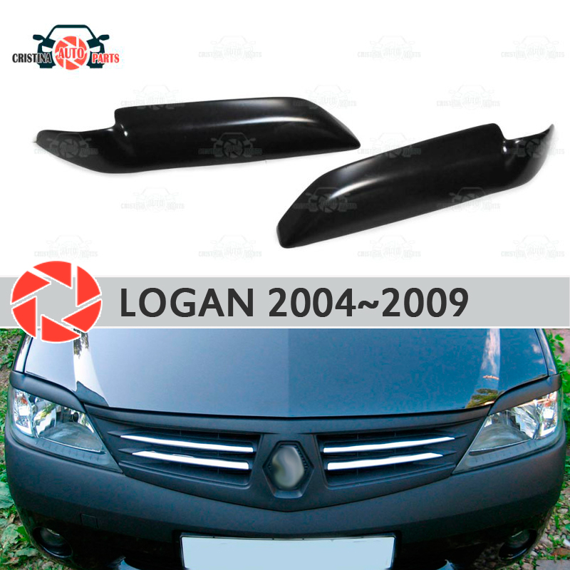 Eyebrows for Renault Logan 2004-2009 for headlights cilia eyelash plastic ABS moldings decoration trim covers car styling eyelash lace trim jersey cami top