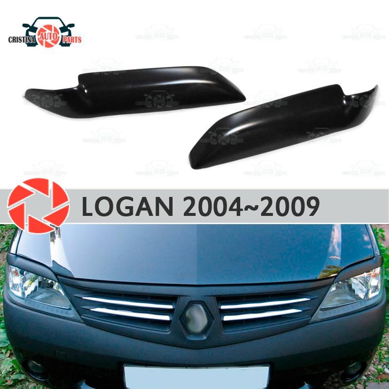 цена на Eyebrows for Renault Logan 2004-2009 for headlights cilia eyelash plastic ABS moldings decoration trim covers car styling